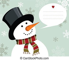 Snowman Christmas card. - Snowman illustration wearing hat...