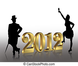 New Year 2012 - illustration composition of silhouetted...