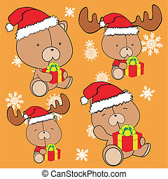 teddy bear baby cartoon xmas set in vector format