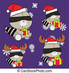 raccoon baby cartoon xmas set in vector format