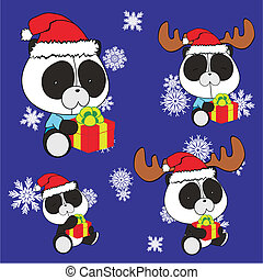 panda bear baby cartoon xmas set in vector format