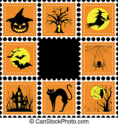 Halloween illustration set of stamp - Halloween set of stamp...