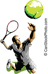 Tennis Player Silhouette Serving - Tennis Serve Silhouette...