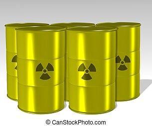 Radioactive waste - A group of yellow barrels filled with a...