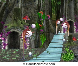 Fabulous forest - Fairy tale series - fabulous bridge in the...