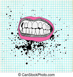 Sketch of the lips and teeth on the school paper. Grunge background.