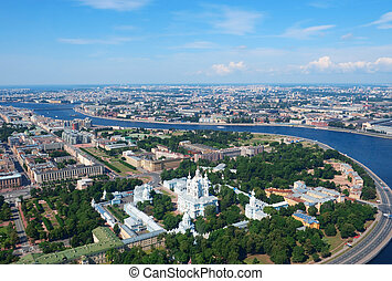 Birdseye view of Saint Petersburg - Birdseye view of Smolny...