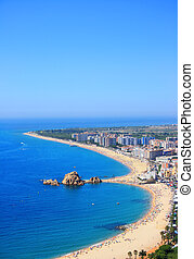 Blanes beach (Costa Brava, Spain) - Blanes beach and Sa...