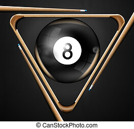8 billiards pool games - Illustration with triangle, pool...