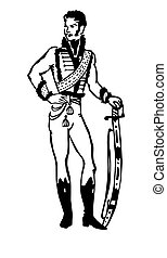 silhouette of the hussar on white