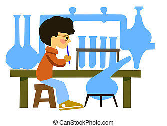 portrait of the boy in chemical laboratory