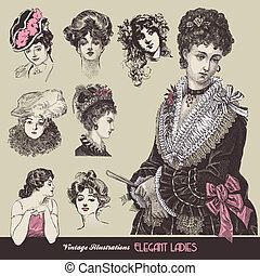 Vintage ladies - Vector illustration - vintage ladies