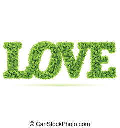 Love word in green leaves