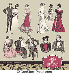 19th century fashion - Ladies and gentlemen 19th century...