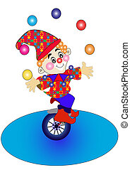 clown on bicycle throws the balls.