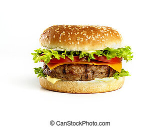 Cheeseburger isolated - hamburger isolated on white...