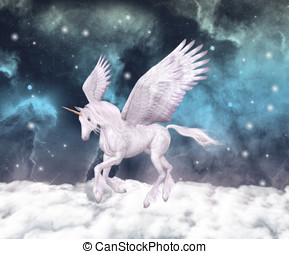 Wonderful pegasus gallops over the clouds