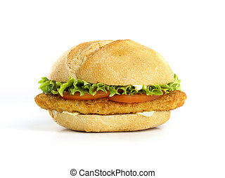 chicken sandwich isolated on white