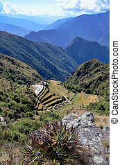 View of Phuyupatamarca ruin on the Inca Trail