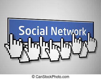 Social network button 2 - Social network blue button with...