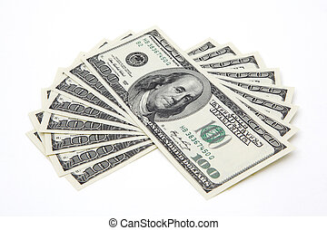 100 dollar bills on white background