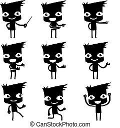 set of funny cartoon man in various poses for use in...