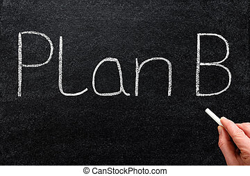 Plan B written with white chalk on a blackboard.