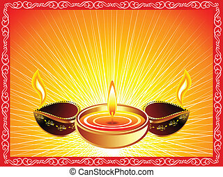 abstract deepawali background with border vector...