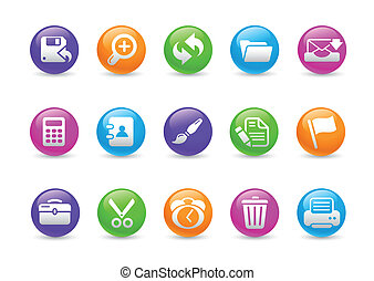 Interface Web Icons Rainbow - Glossy web buttons for your...