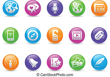 Social Media Rainbow - Glossy web buttons for your website...