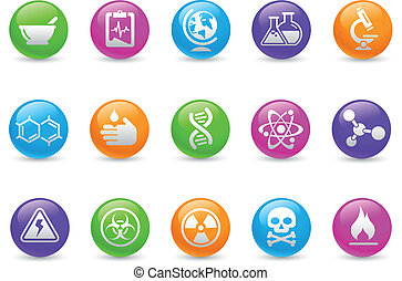 Science Icons Rainbow - Glossy web buttons for your website...