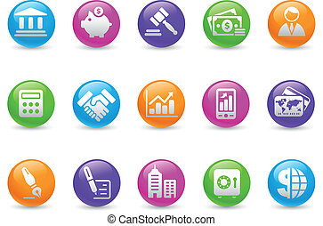 Business & Finance Icons / Rainbow - Glossy web buttons for...