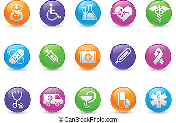Medicine and Heath Care Rainbow - Glossy web buttons for...