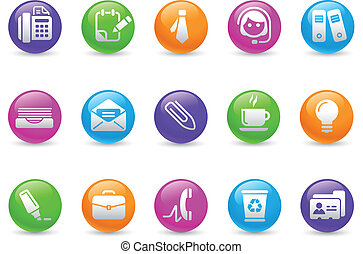 Office and Business Icons Rainbow - Glossy web buttons for...
