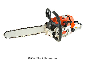 Chain saw is isoltaed on the white background