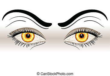 Yellow Evil Eyes. Isolated over white background. Vector...