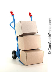 parcel service - sack truck with various packages on a white...