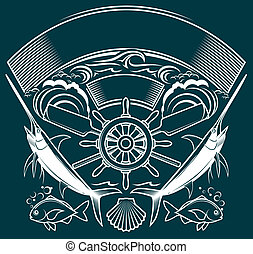 Ship Wheel Crest - A mariner themed design with...