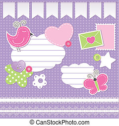 set of scrapbook elements on violet background