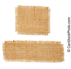 Burlap hessian square with frayed edges isolated on white...