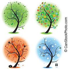Four seasons - spring, summer, autu - Four different...
