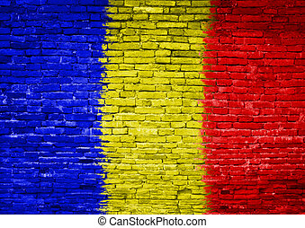 Romania flag painted on wall - Romania flag painted on old...