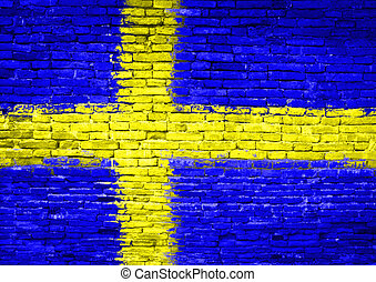 Sweden flag painted on wall - Sweden flag painted on old...