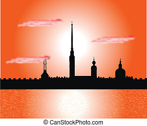 Silhouette of Peter and Paul fortress at sunset - Silhouette...