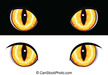 Evil Animal Eyes - Set of evil animal eyes Isolated on black...