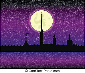 Silhouette of Peter and Paul fortress at night - Silhouette...