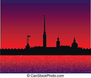 Silhouette of Peter and Paul fortress after sunset -...