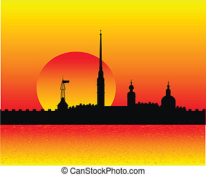 Silhouette of Peter and Paul fortress at sunset