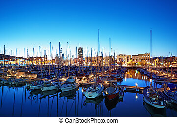 Night view of Port Vell in Barcelona - Spain