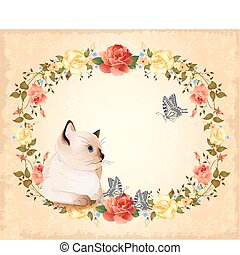 vintage  birthday  card with  little siamese  kitten, roses and butterflies